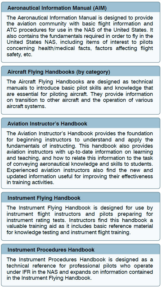 Figure 1-15. A sample of handbooks available to the public. Most can be downloaded free of charge from the FAA website.