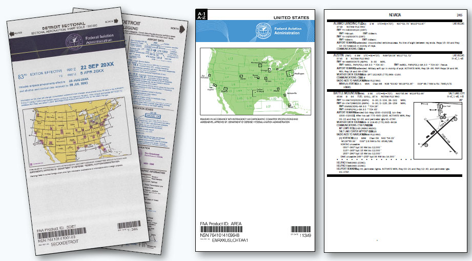 Figure 1-18. From left to right, a sectional VFR chart, IFR chart, and chart supplement U.S. (formerly Airport/Facility Directory) with a sample of a page from the supplement.
