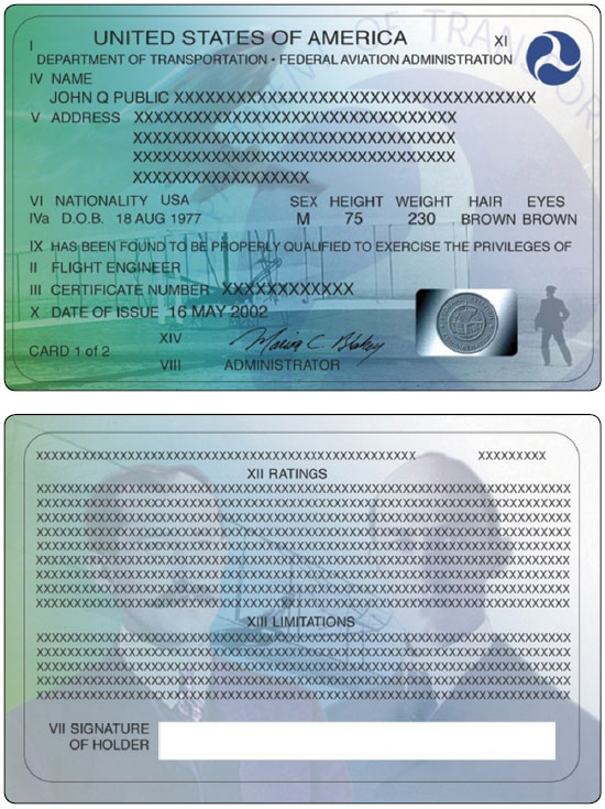 Figure 1-20. Front side (top) and back side (bottom) of an airman certificate issued by the FAA.