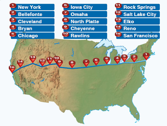 Figure 1-6. The transcontinental airmail route ran from New York to San Francisco.