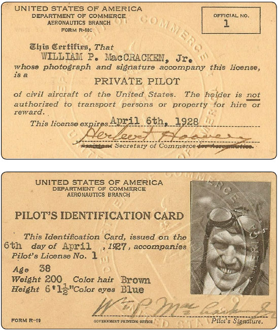 Figure 1-8. The first pilot license was issued to William P. MacCracken, Jr.