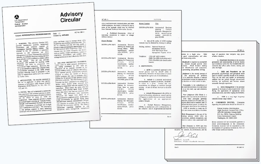 "Figure 2-2. Advisory Circular (AC) 60-22, ""Aeronautical Decision Making,"" carries a wealth of information for the pilot to learn."