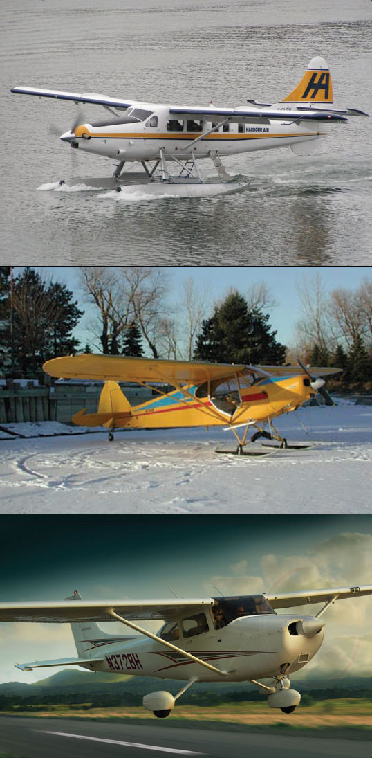 Figure 3-12. Types of landing gear: floats (top), skis (middle), and wheels (bottom).