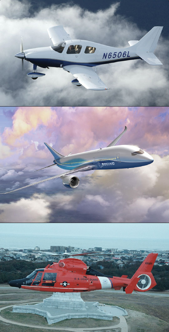 Figure 3-17. Composite materials in aircraft, such as Columbia 350 (top), Boeing 787 (middle), and a Coast Guard HH-65 (bottom).
