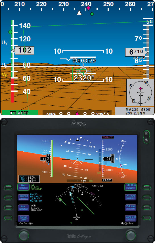 Figure 8-14. Chelton's FlightLogic (top) and Avidyne's Entegra (bottom) are examples of panel displays that are configurable.