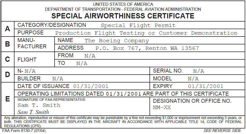 Figure 9-10. FAA Form 8130-7, Special Airworthiness Certificate.
