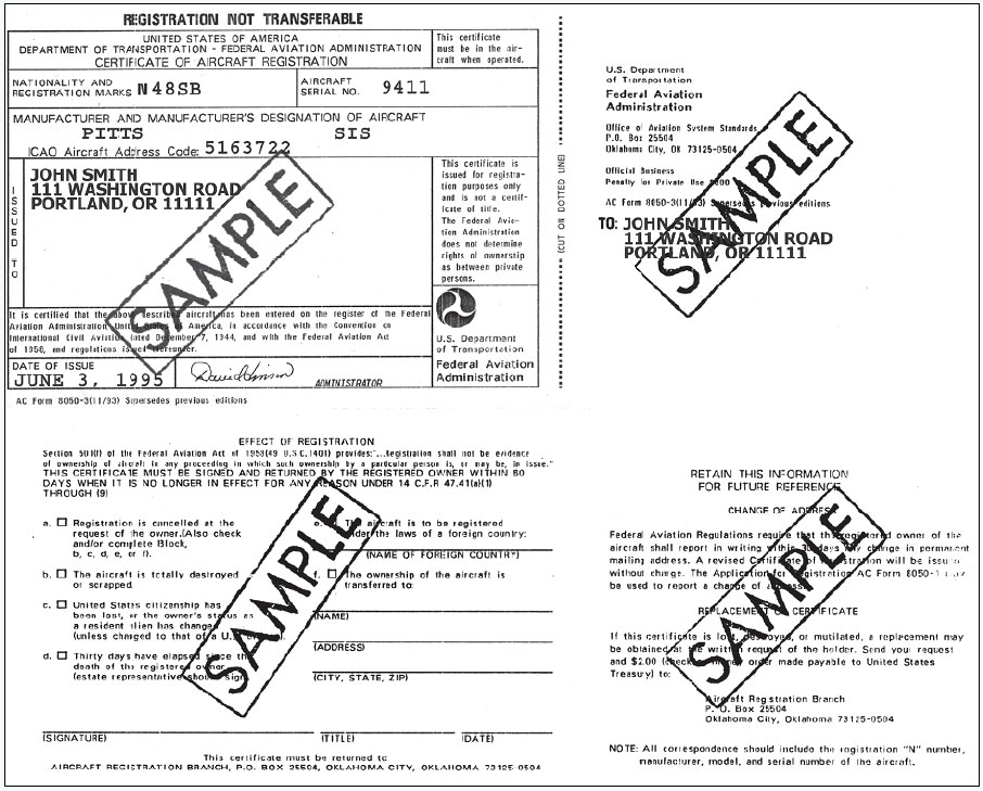 Figure 9-8. AC Form 8050-3, Certificate of Aircraft Registration.