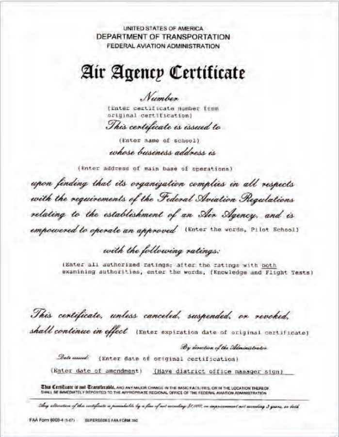 Figure 1-9. FAA Form 8000-4, Air Agency Certificate.