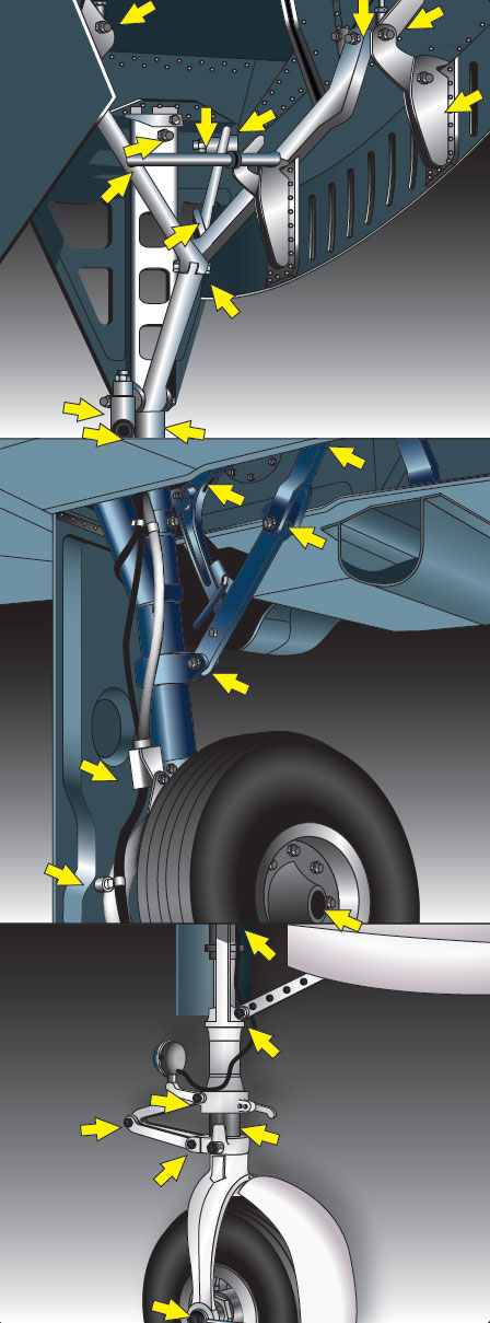 Figure 11-14. Retractable landing gear inspection checkpoints.