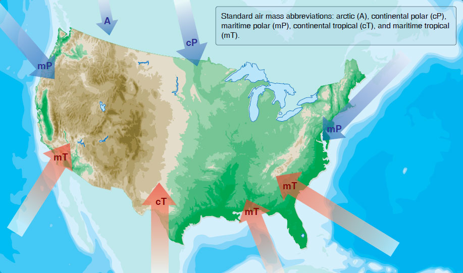 Figure 12-23. North American air mass source regions.
