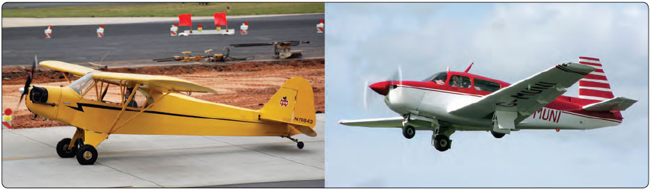 Figure 13-1. The Piper Super Cub on the left is a popular tailwheel airplane. The airplane on the right is a Mooney M20, which is a nosewheel (tricycle gear) airplane.
