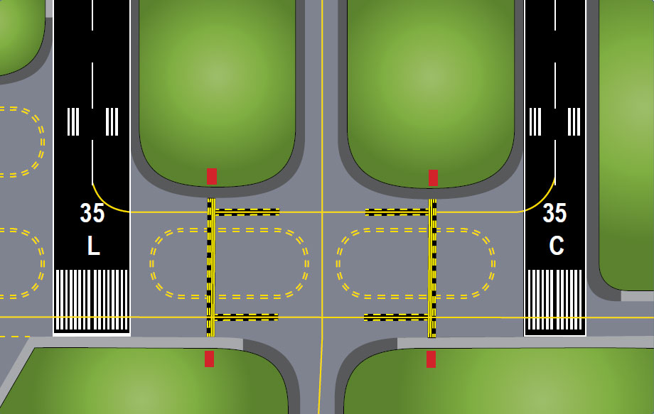 Figure 14-16. Two of three parallel runways.
