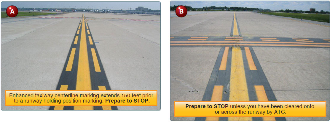 Figure 14-21. (A) Enhanced taxiway centerline marking. (B) Enhanced taxiway centerline marking and runway holding position marking.