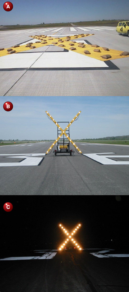 "Figure 14-27. (A) Yellow ""X"" placed on surface of temporarily closed runways. (B) Lighted ""X"" placed on temporarily closed runways. (C) Lighted ""X"" at night showing a temporarily closed runway."