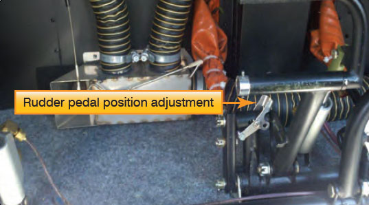 Figure 16-10. Adjustment lever for the rudder pedal position.