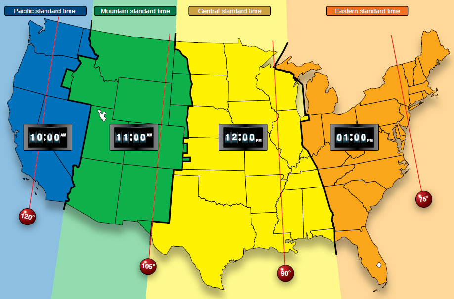 Figure 16-5. Time zones in the conterminous United States.
