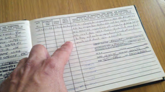 Figure 2-1. Pilots must view the aircraft's maintenance logbook prior to flight to ensure the aircraft is safe to fly.