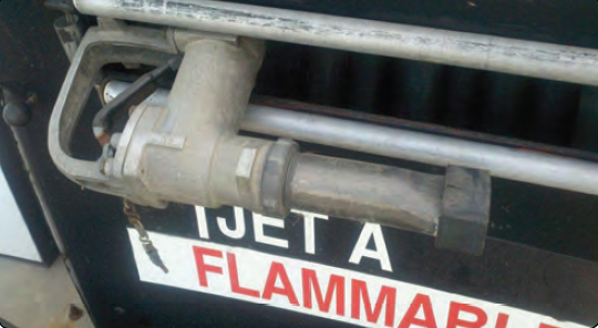 Figure 2-10. A jet fuel filler nozzle is flared at the end to prevent an inadvertent insertion into an AVGAS fuel tank.