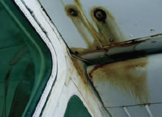 Figure 2-11. Evidence of fuel leakage can be found along rivet lines.