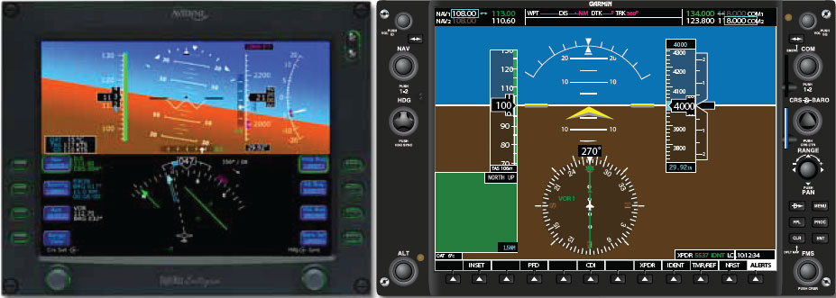 Figure 5-45. Two primary flight displays (Avidyne on the left and Garmin on the right).