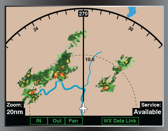 Figure 5-50. An aircraft equipped with ADS has the ability to upload and display weather.