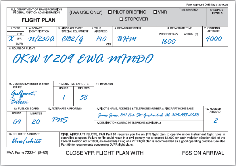 Figure 10-20. Flight plan form.