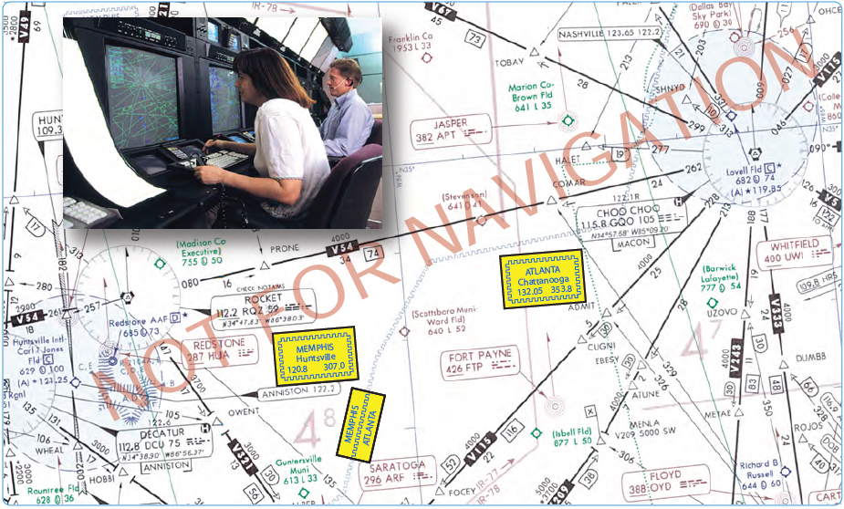 Figure 2-13. Air Route Traffic Control Centers and sector frequencies.