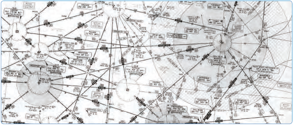Figure 2-2. Airways depicted on an aeronautical chart.