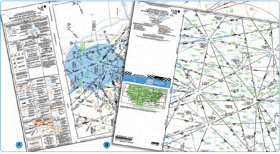Figure 2-24. IFR en route low altitude (left) and high altitude (right) charts.