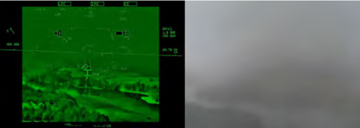 Figure 4-10A. View during an approach with EFVS (left) and without EFVS (right). (Images courtesy of NASA Langley Research Center)