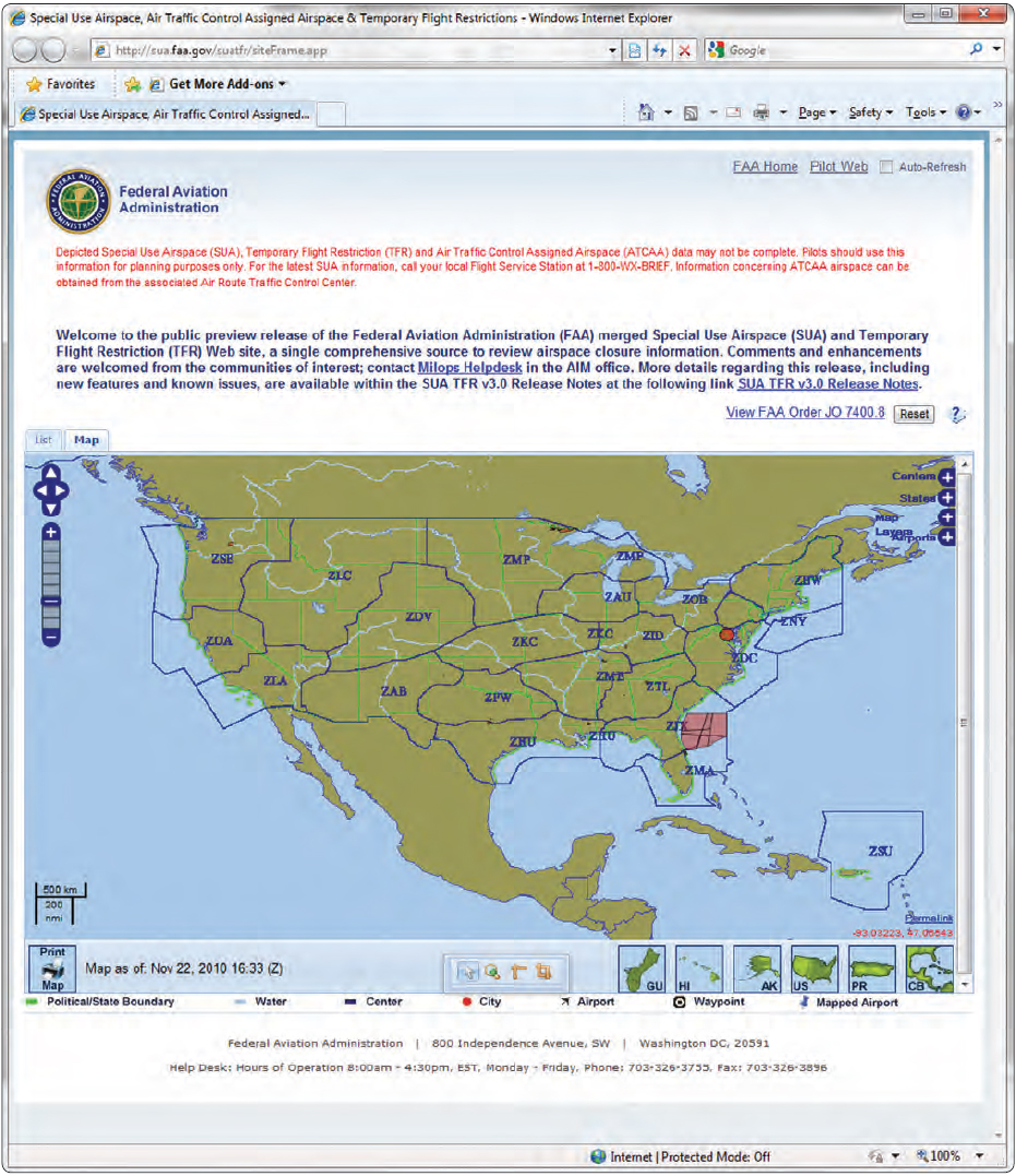 Figure 5-34. FAA website providing information for both special use airspace and temporary flight restrictions.