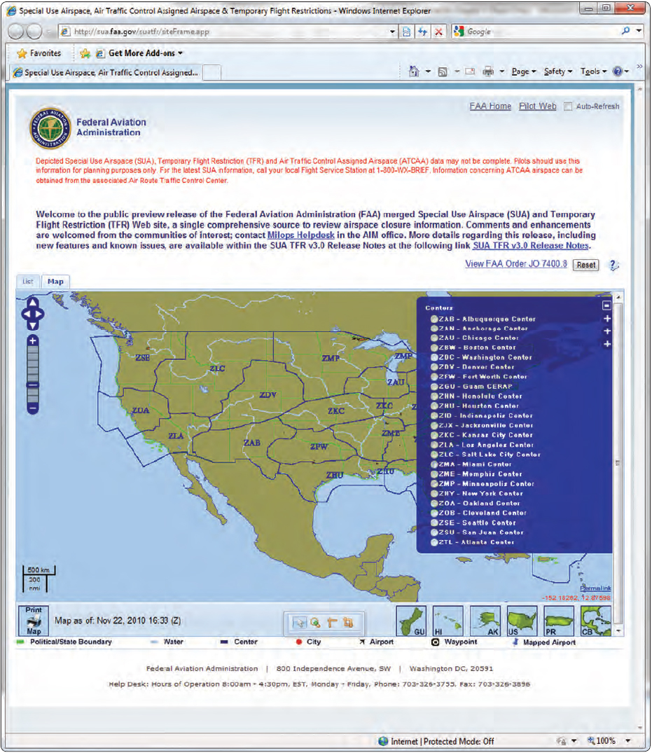 Figure 5-35. Center locations and information available to pilots through the FAA website.