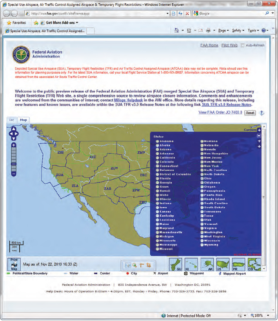 Figure 5-36. State information available to pilots through the FAA website.
