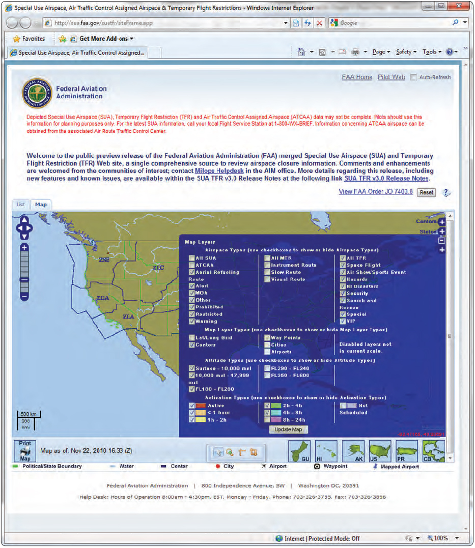 Figure 5-37. Map layer options and information available to pilots through the FAA website.