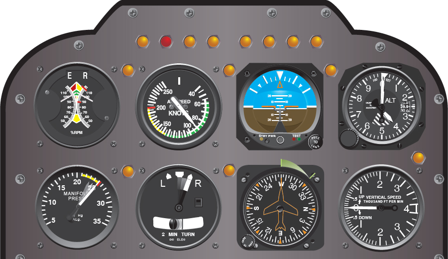 Figure 8-7. Flight instrument indications in straight-and-level flight with power increasing.
