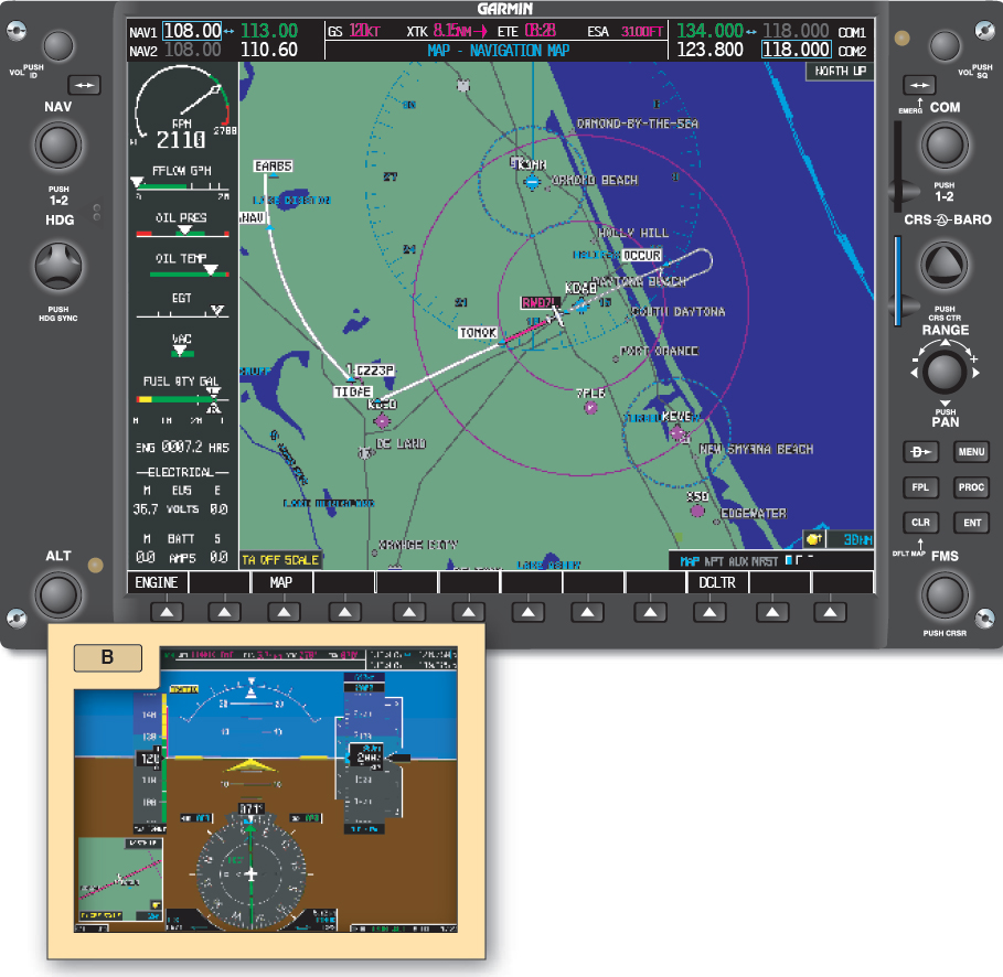 Figure 9-21. Aircraft is illustrated inbound on the localizer course.