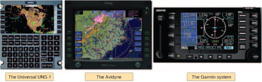Figure 9-42. Typical display and control unit(s) in general aviation. The Universal UNS-1 (left) controls and integrates all other systems. The Avidyne (center) and Garmin systems (right) illustrate and are typical of completely integrated systems. Although the Universal CDU is not typically found on smaller general aviation aircraft, the difference in capabilities of the CDUs and stand-alone sytems is diminishing each year.