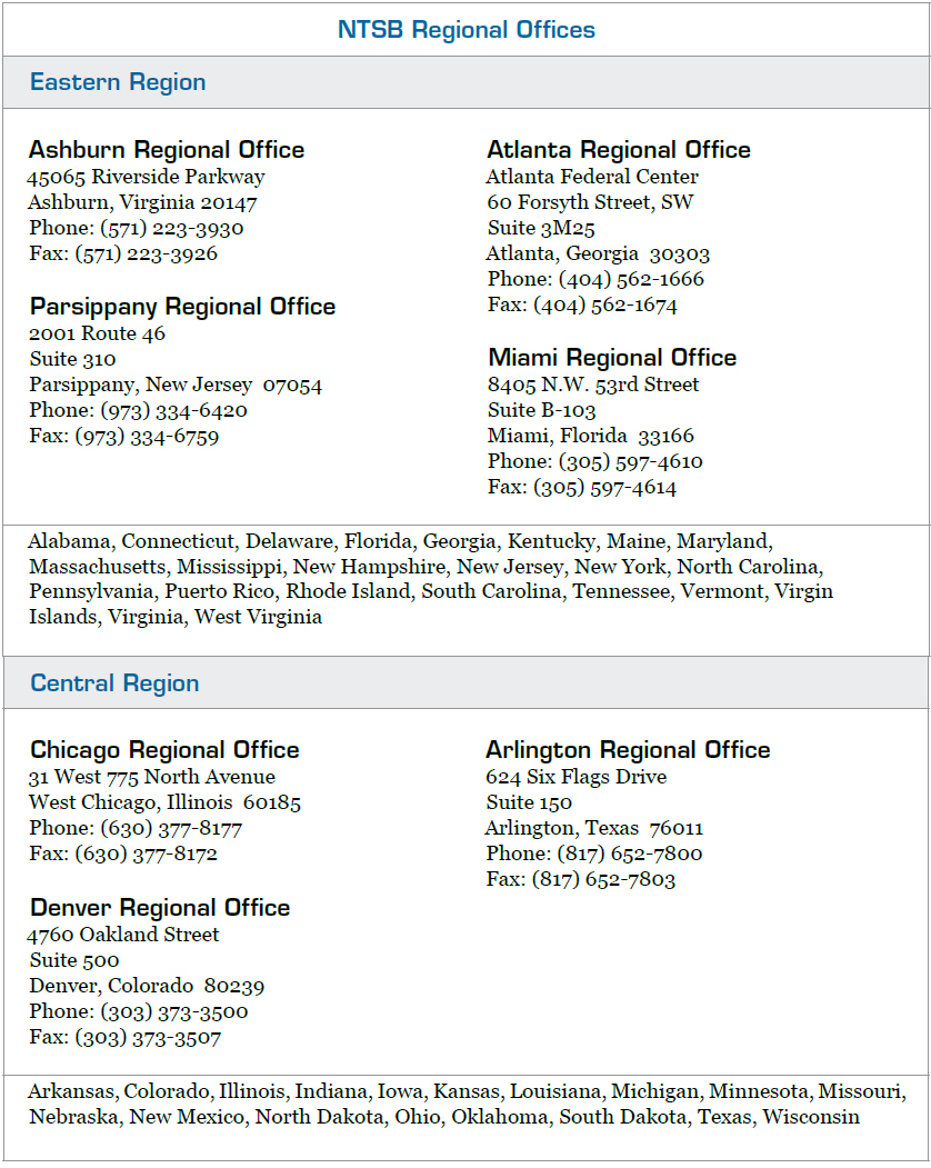 Figure 1-3. NTSB Regional Offices. The updated list of NTSB Regional Offices, including office hours, is available on the NTSB website at www.ntsb.gov.