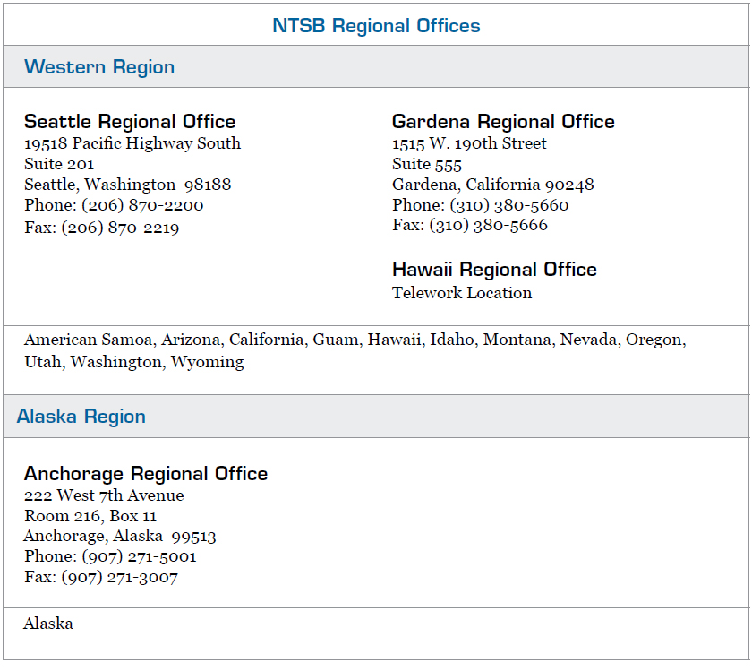 Figure 1-3. NTSB Regional Offices (continued).
