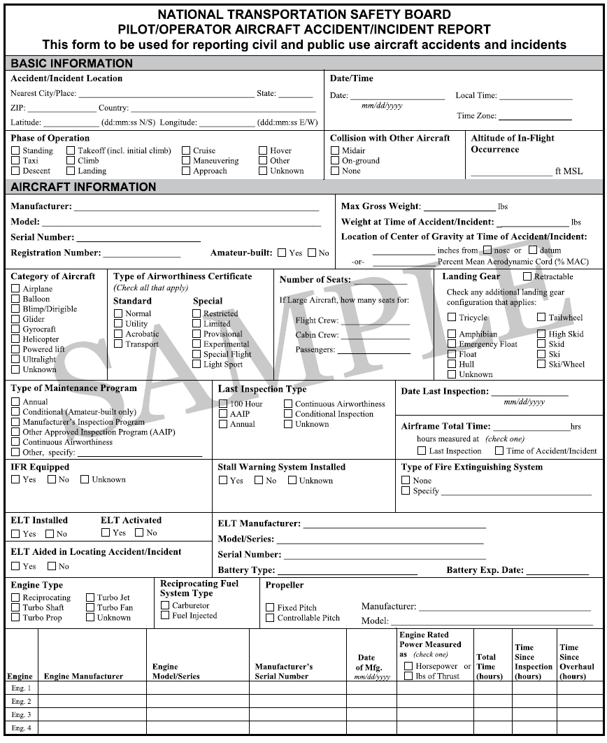 Figure 1-4. NTSB Form 6120.1, Pilot/Operator Aircraft Accident/Incident Report. You can obtain instructions for completing NTSB Form 6120.1 on the NTSB website at www.ntsb.gov or from your local FSDO.