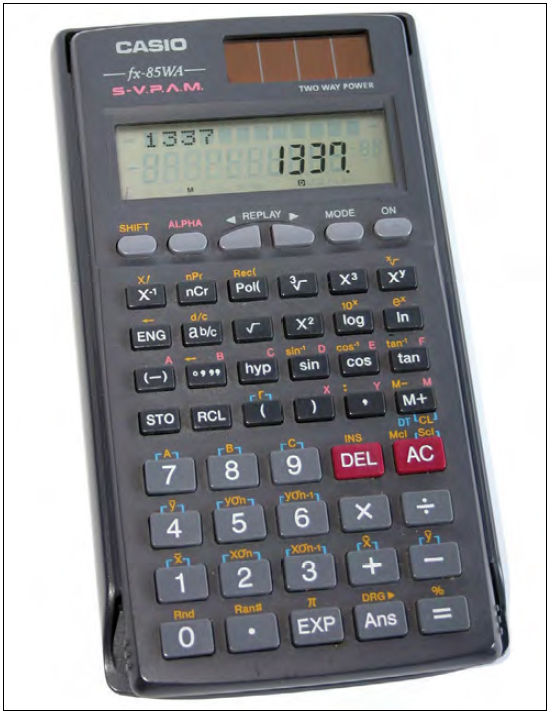 Figure 10-1. A typical electronic calculator is useful for solving most types of weight and balance problems.