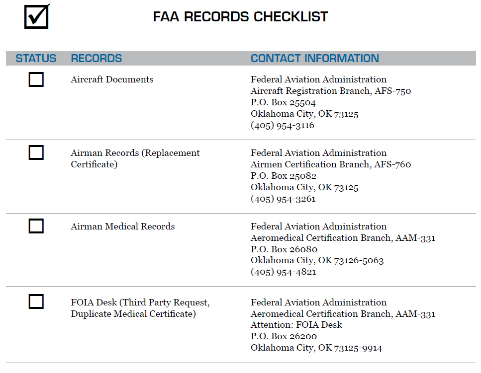 Figure 11-1. FAA Records Checklist. The easiest way to locate information on obtaining records from the FAA is on the FAA website at www.faa.gov. You can also use this checklist to determine which FAA branch to contact regarding the records requested.