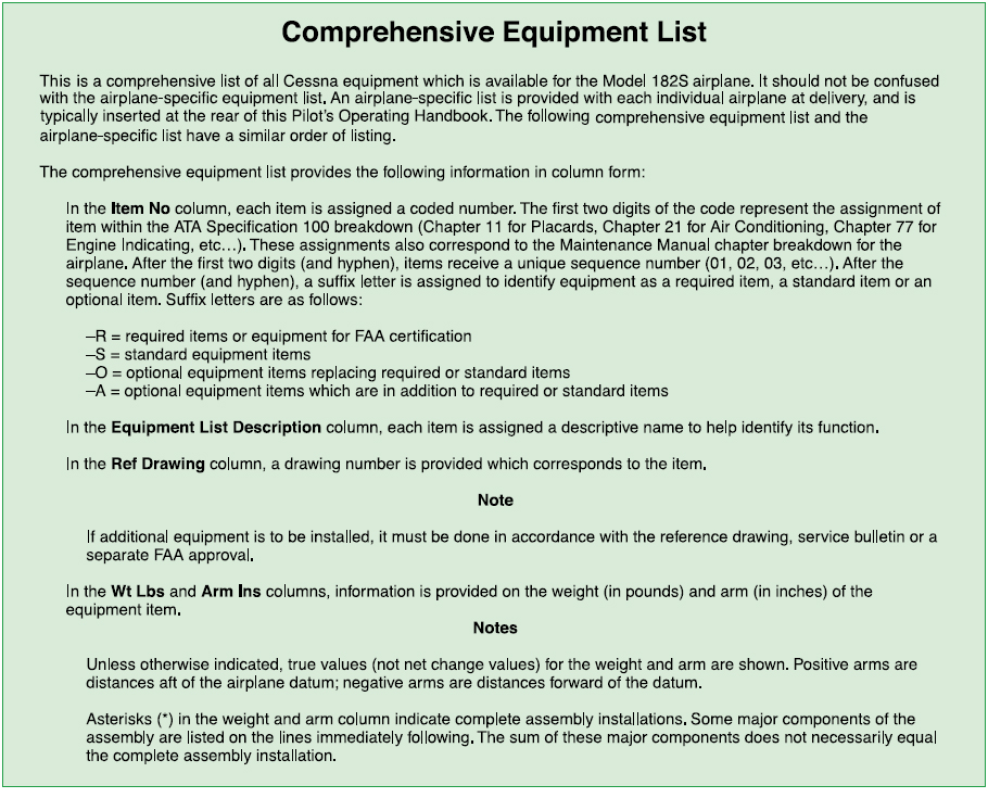 Figure 2-17. Excerpt from a typical comprehensive equipment list.