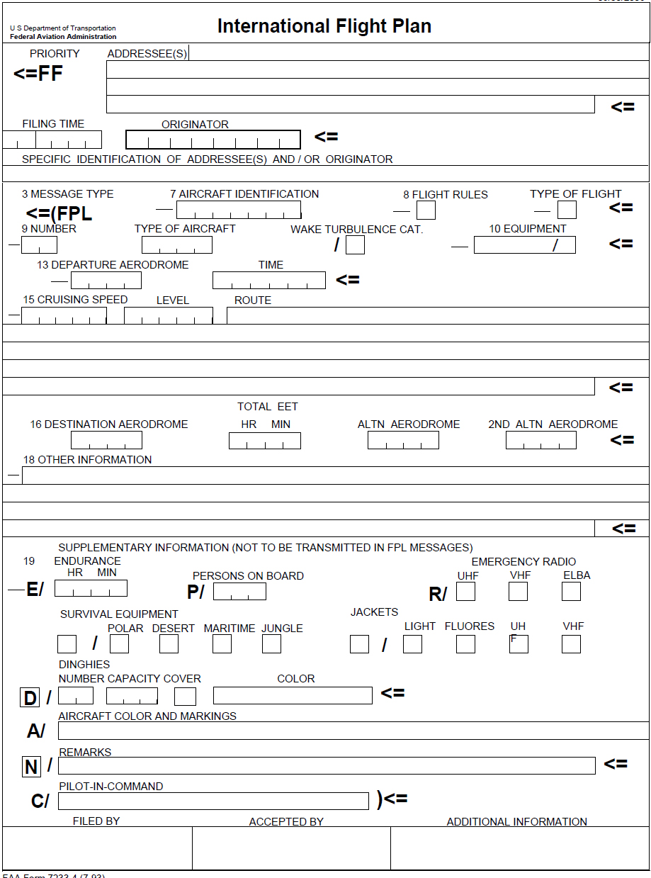 Figure 2-3. FAA Form 7233-4, International Flight Plan (7-93).