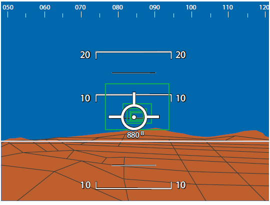 Figure 2-4. An attitude indicator with HITS display symbology.