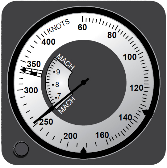 Figure 3-25. Combined airspeed Mach indicator.