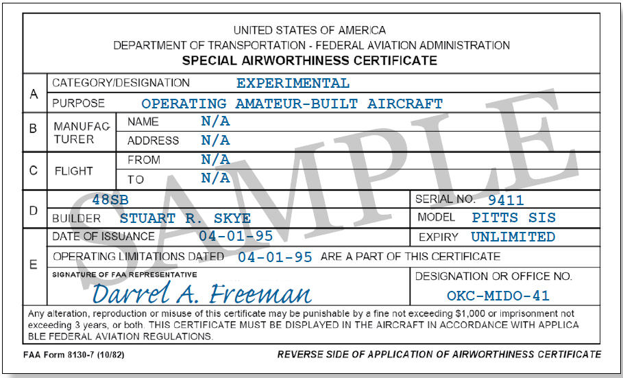 Figure 3-4. Form 8130-7, Special Airworthiness Certificate. The FAA issues FAA Form 8130-7, Special Airworthiness Certificate, for all aircraft certificated in other than the Standard classifications, such as Experimental, Restricted, Limited, Provisional, and Light-Sport.