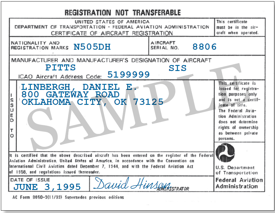 Figure 4-5. AC Form 8050-3, Certificate of Aircraft Registration. The FAA issues AC Form 8050-3 to evidence registration of your aircraft.