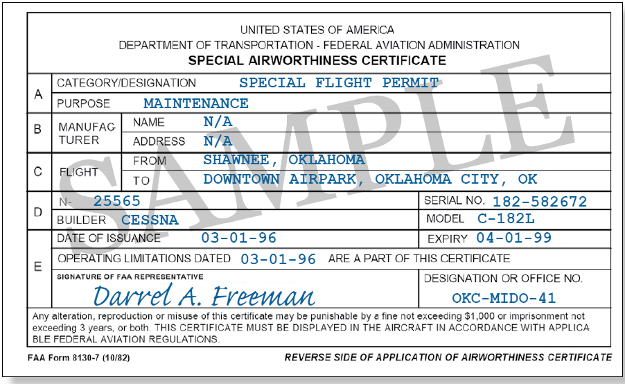 Figure 5-2. FAA Form 8130-7, Special Airworthiness Certificate. The FAA issues FAA Form 8130-7, Special Airworthiness Certificate, as a special flight permit.