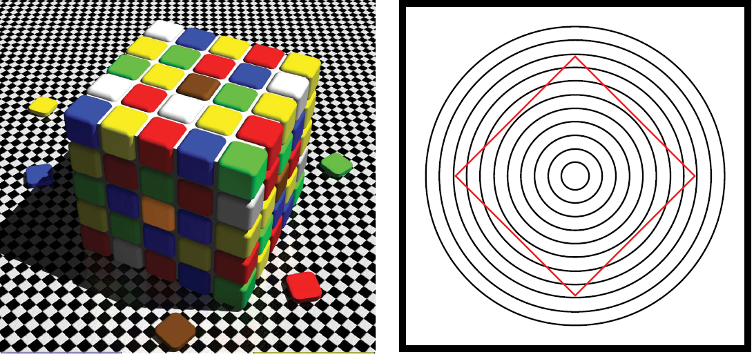 "Figure 3-9. Visual illusions are easy to see when shown in the examples above. The illusion on the left represents how the brain processes color. The ""brown"" square on top and the ""orange"" square on the side are actually the same color. The illusion on the right appears to have red lines that curve; however, they are straight. These illusions are representative of things we see in everyday life, except we do not see them as they really are until it is sometimes too late. Understanding that visual illusions exist is a prime ingredient to being better prepared to cope with risk."